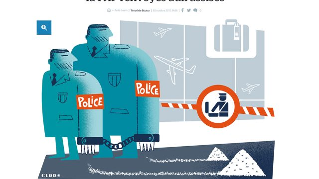 Clod, illustrateur, illustration, illustration, éditorial, communication, presse, press, magazine, graphic, digitalillustration, Le Parisien, Fait divers, trafic de drogue, Police
