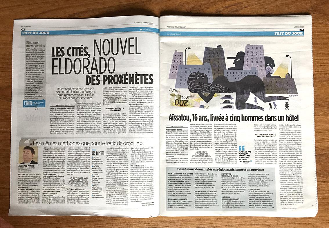 Clod illustration Le Parisien fait-divers prostitution : les cités, nouvel eldorado des proxénètes