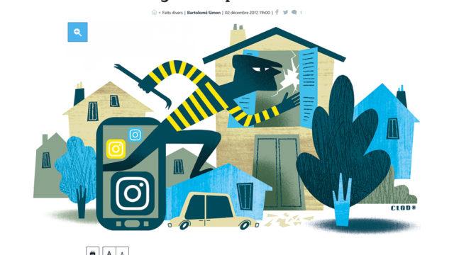 Clod illustration Le Parisien cambriolage et réseaux sociaux