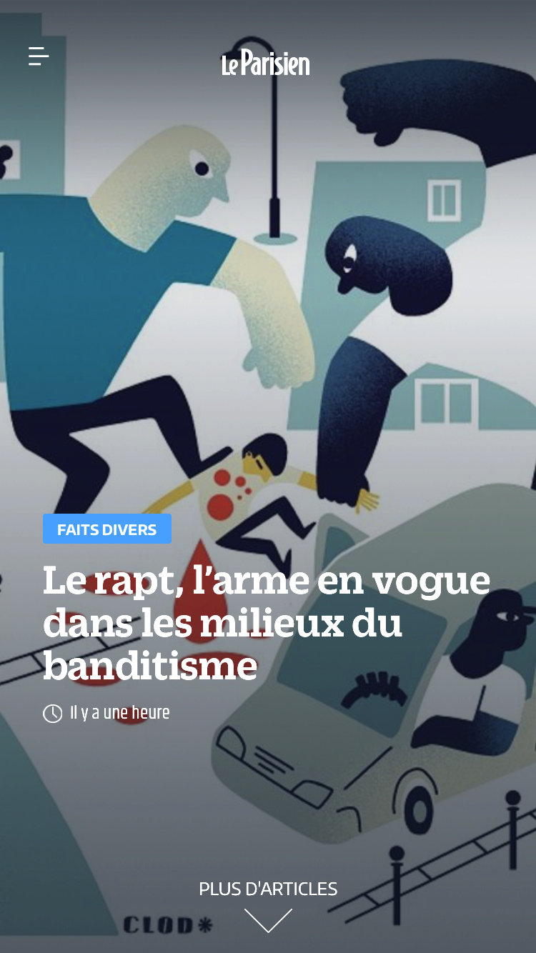 Illustration pour le Parisien le rapt arme en vogue du banditisme, édition du 1er septembre 2018