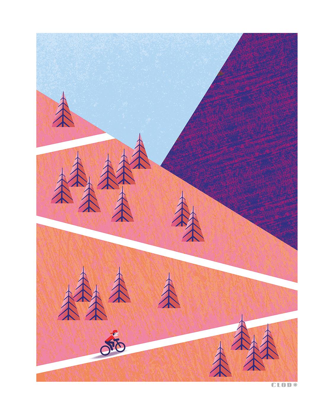 Clod illustration tirage d'art PapaPaper vélo en montagne
