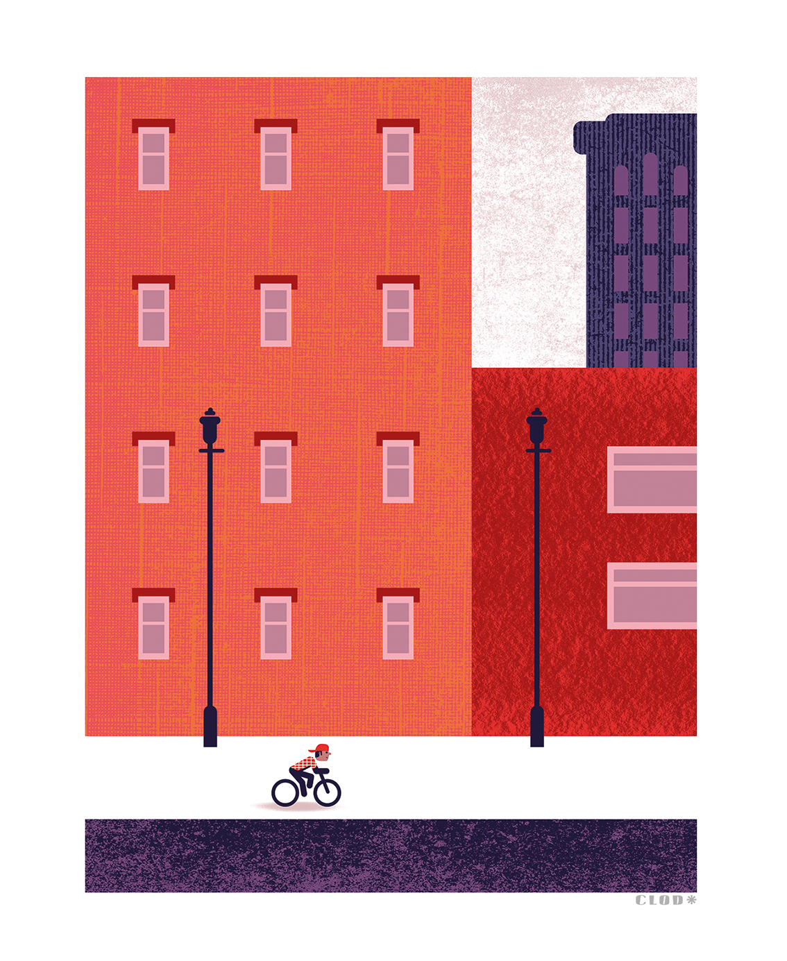 Clod illustration tirage d'art PapaPaper vélo à Brooklyn à New York