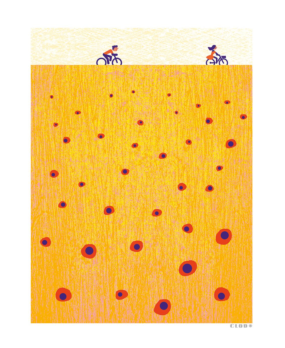 Clod illustration tirage d'art PapaPaper vélo en été