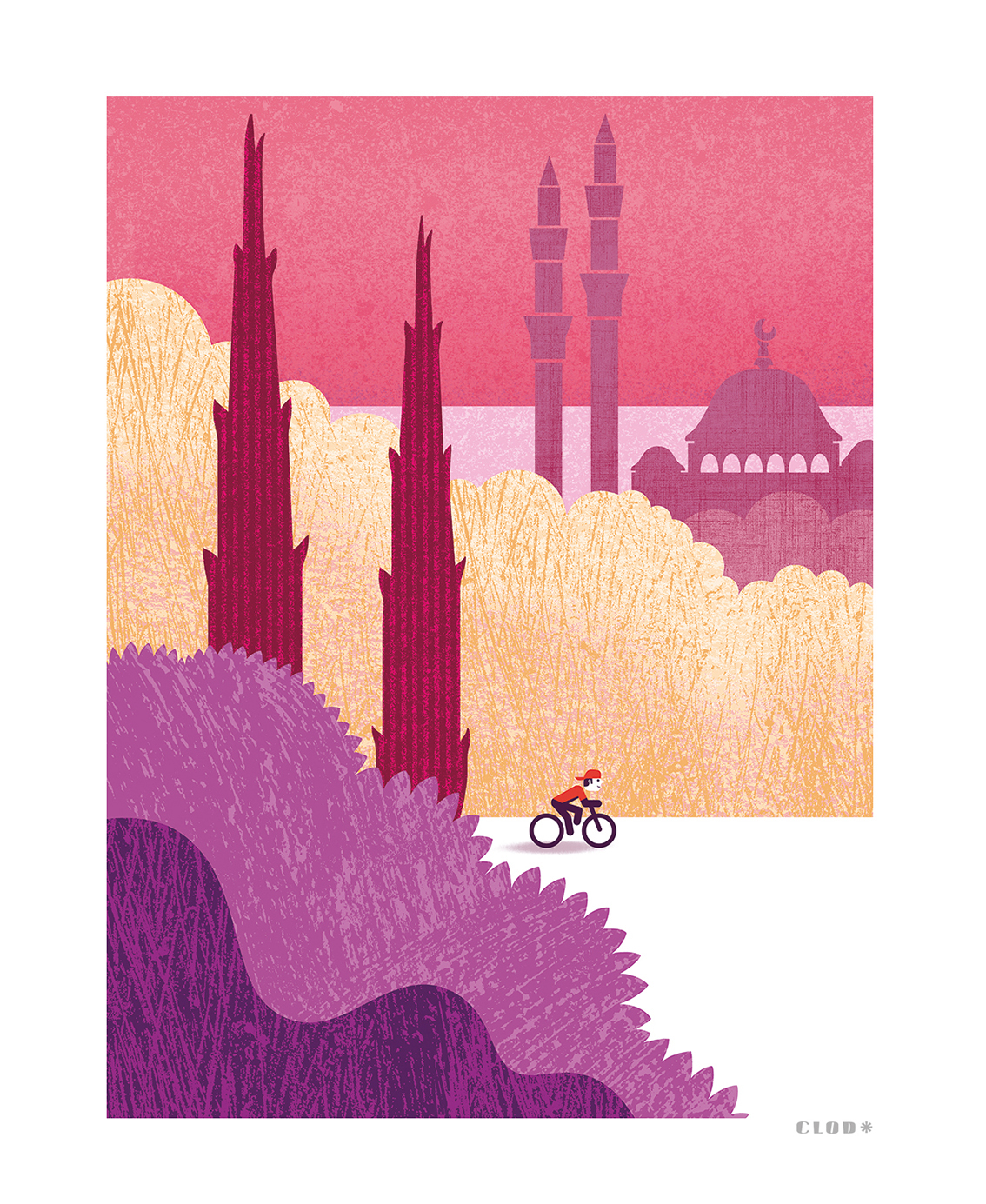 Clod illustration tirage d'art PapaPaper vélo à Istanbul
