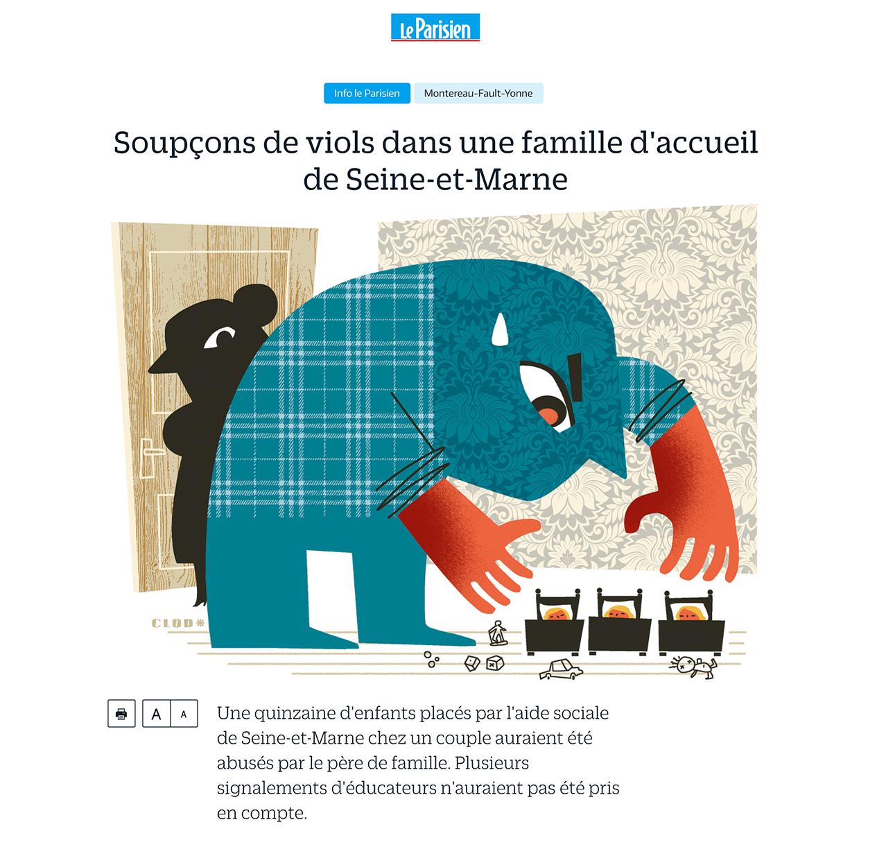 Clod illustration fait divers dans le Parisien du 14 mars 2017