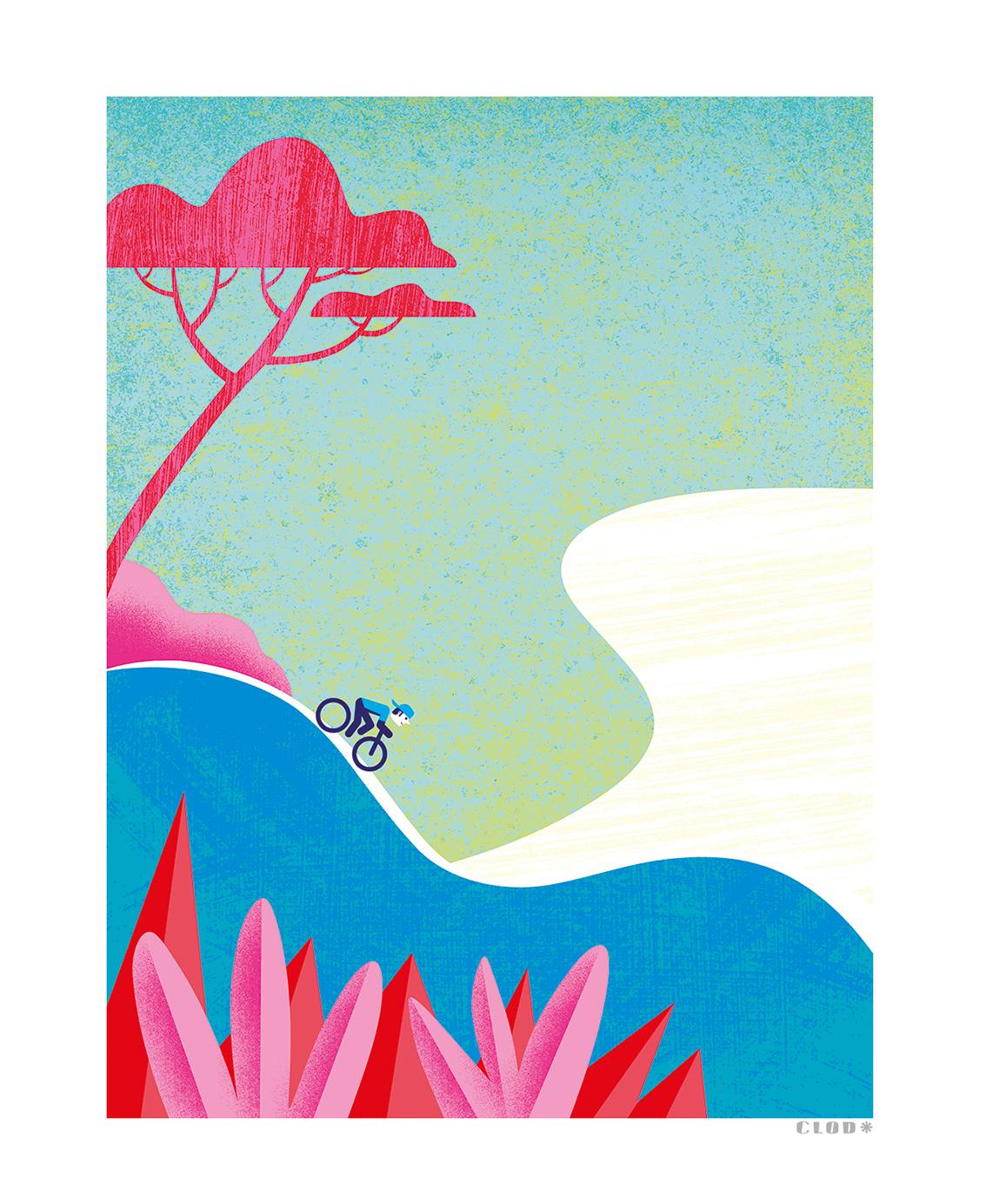 Clod illustration tirage d'art PapaPaper vélo sur la Côte