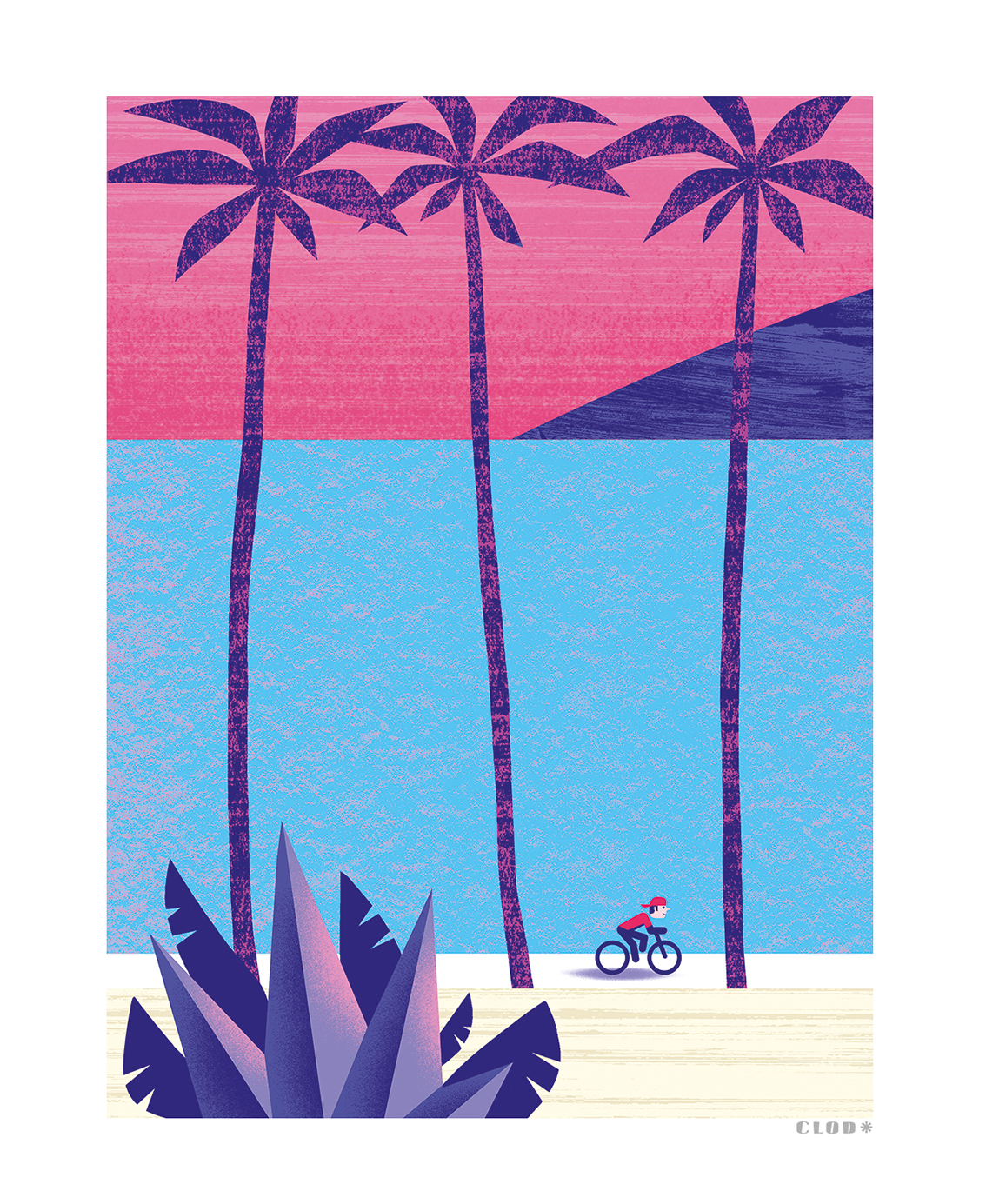 Clod illustration tirage d'art PapaPaper vélo en Californie