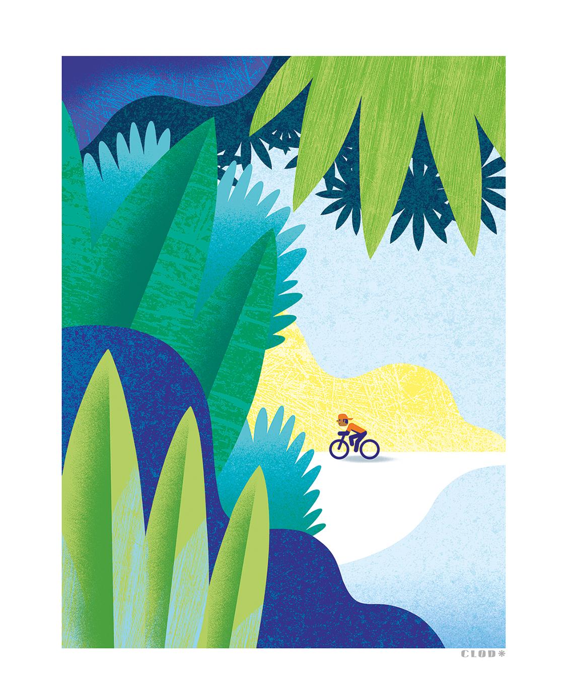 Clod illustration tirage d'art PapaPaper vélo sous les tropiques
