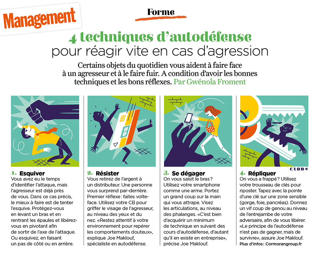 Clod illustration Magazine Management article autodéfense