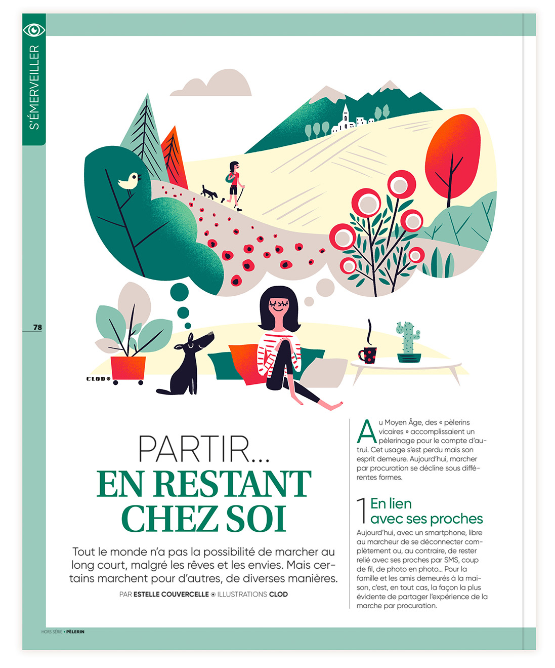 Clod illustration le Pèlerin magazine article sur la marche