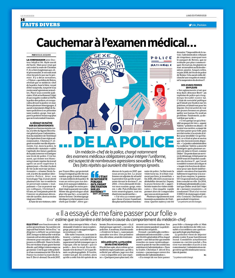 Clod illustration le Parisien, cauchemar à l'examen médical de la police
