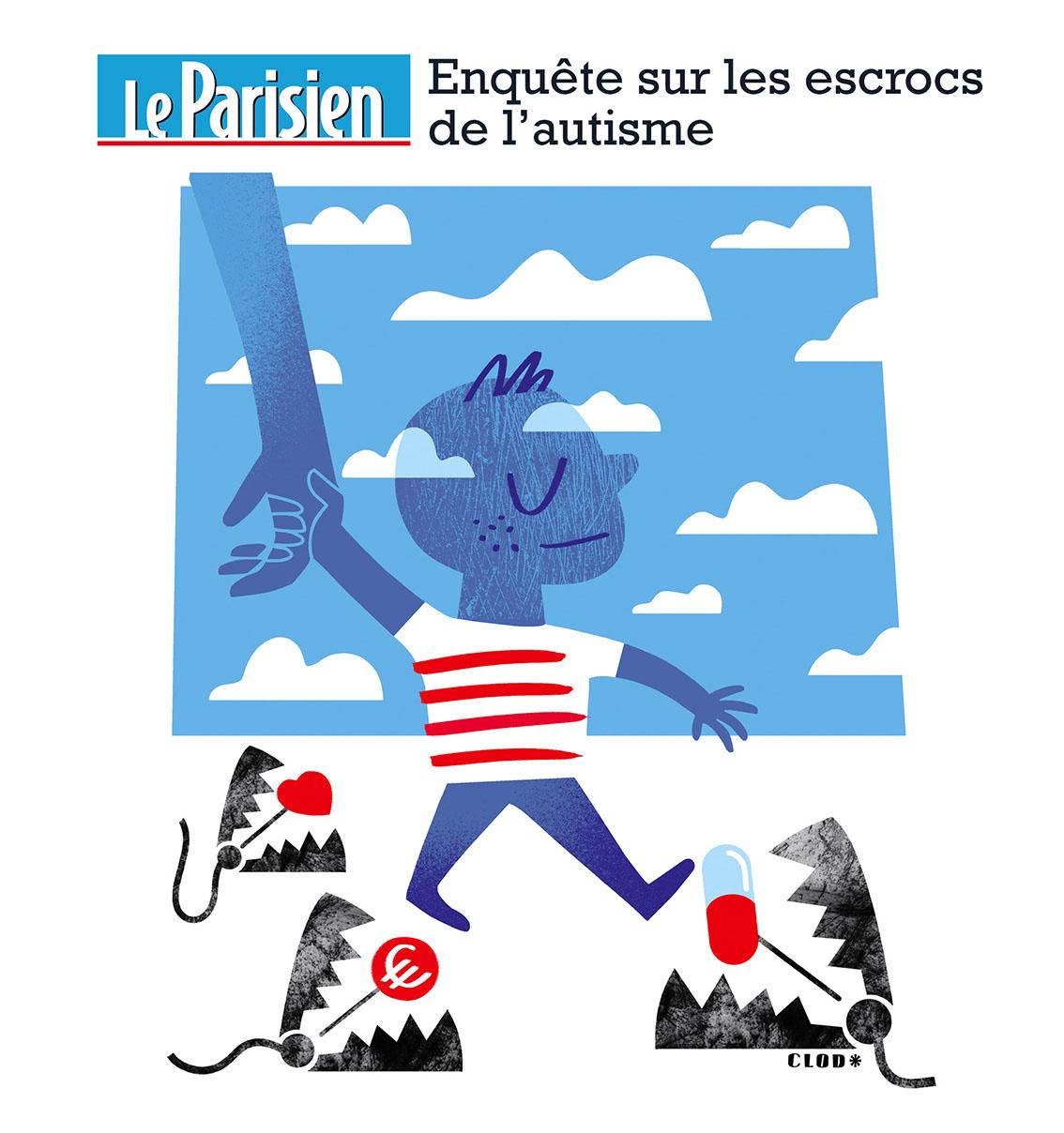 Clod illustration Le Parisien les escrocs de l'autisme