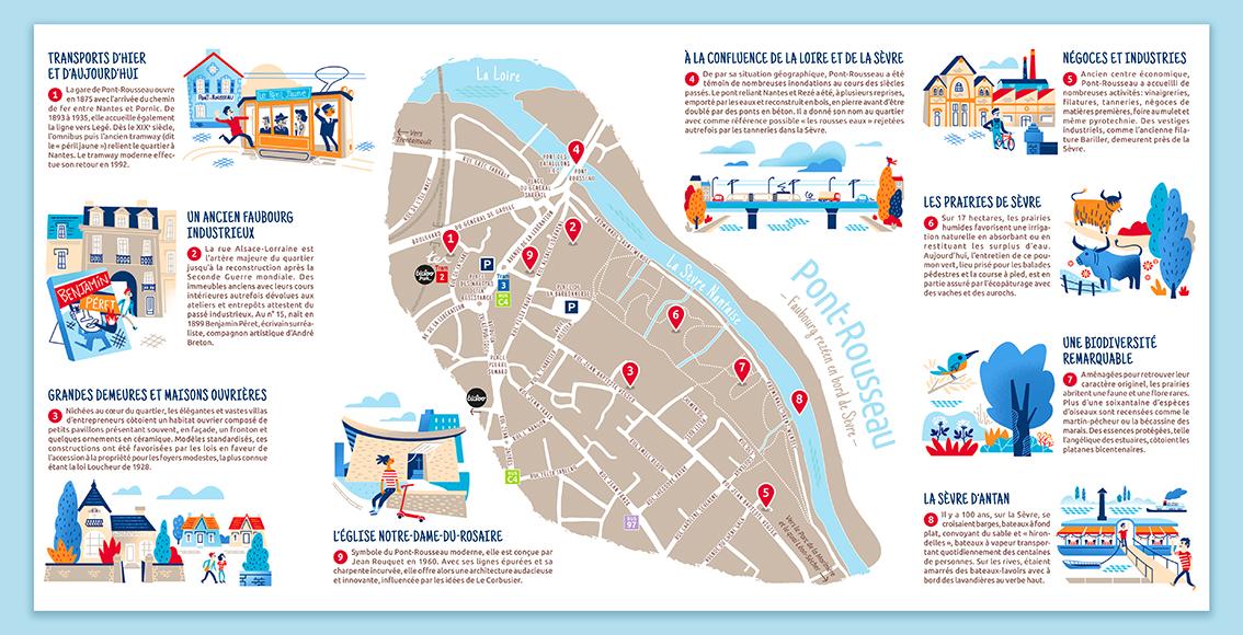 Clod illustration pour la Ville de Rezé, dépliant touristique quartier de Pont-Rousseau