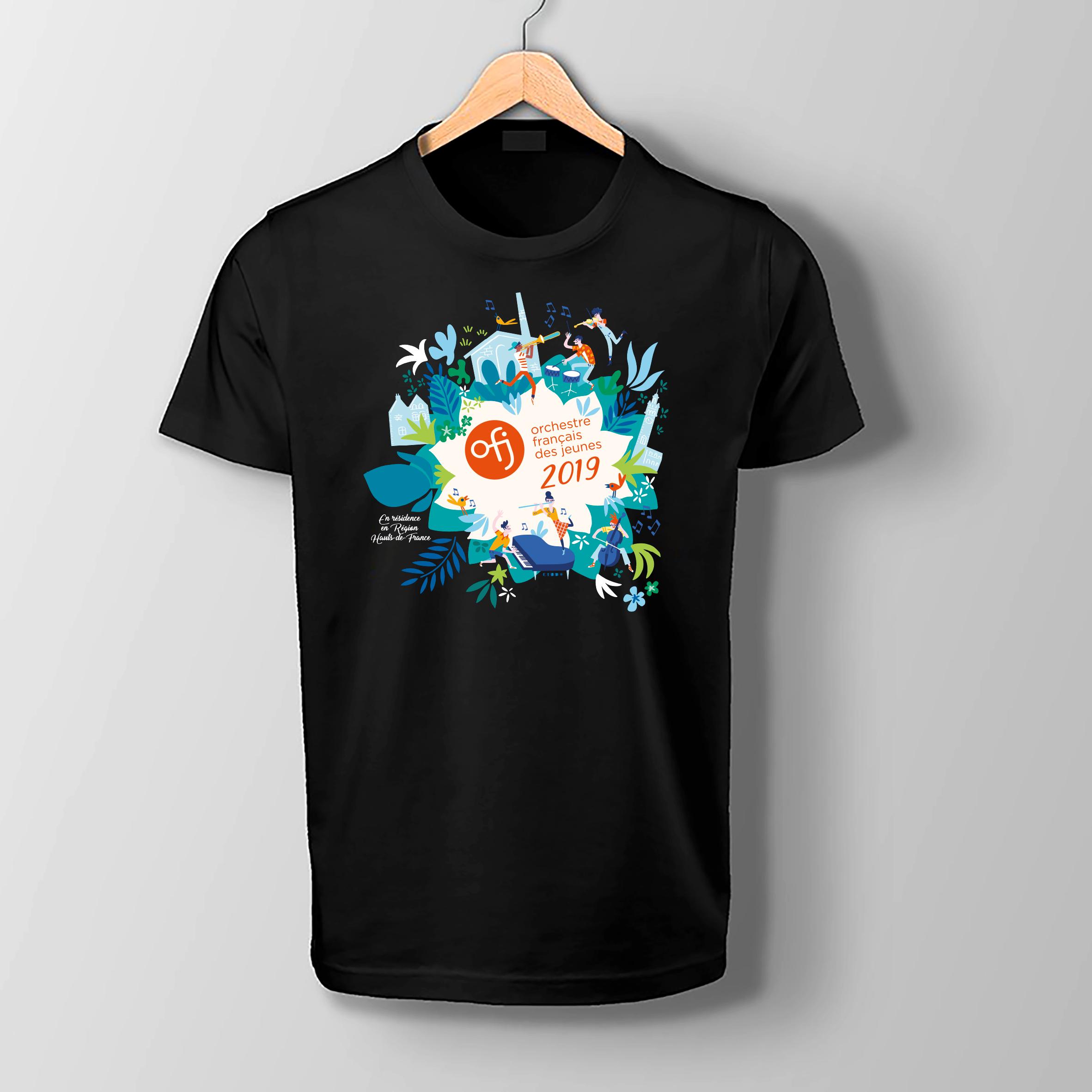Clod illustration tee-shirt pour l'Orchestre Français des Jeunes pour les concerts hors les murs de l'été