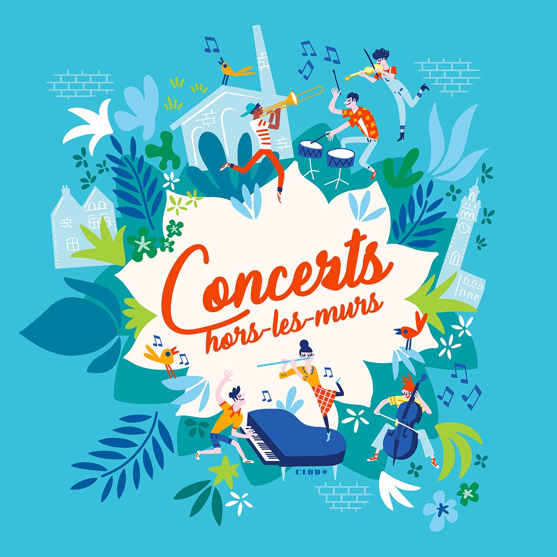 Clod illustration affiche pour l'Orchestre Français des Jeunes pour les concerts hors les murs de l'été