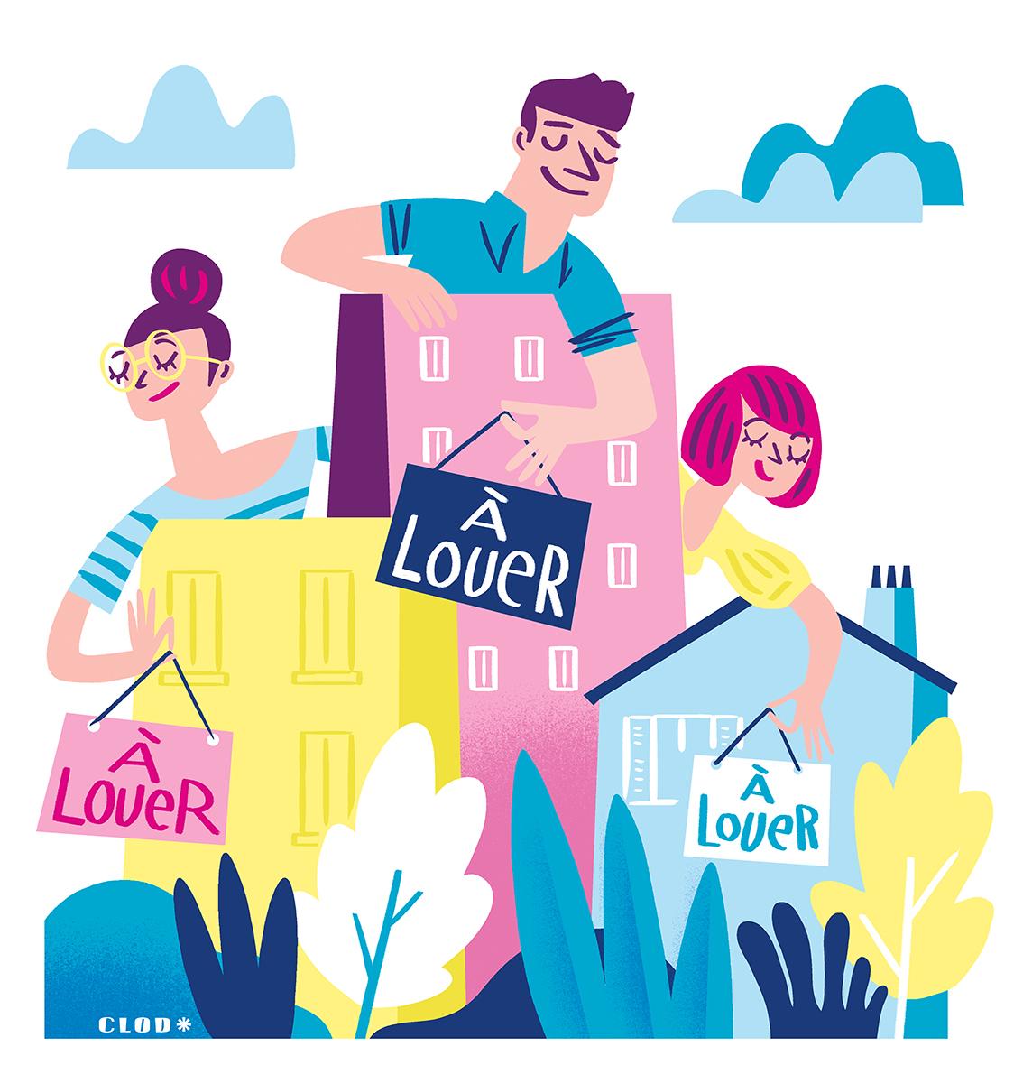 Clod illustration pour le Particulier Immobilier dossier sur le bail mobilité