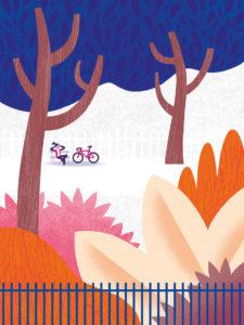 Tirage d'art les petits vélos de Clod - vélo dans le parc