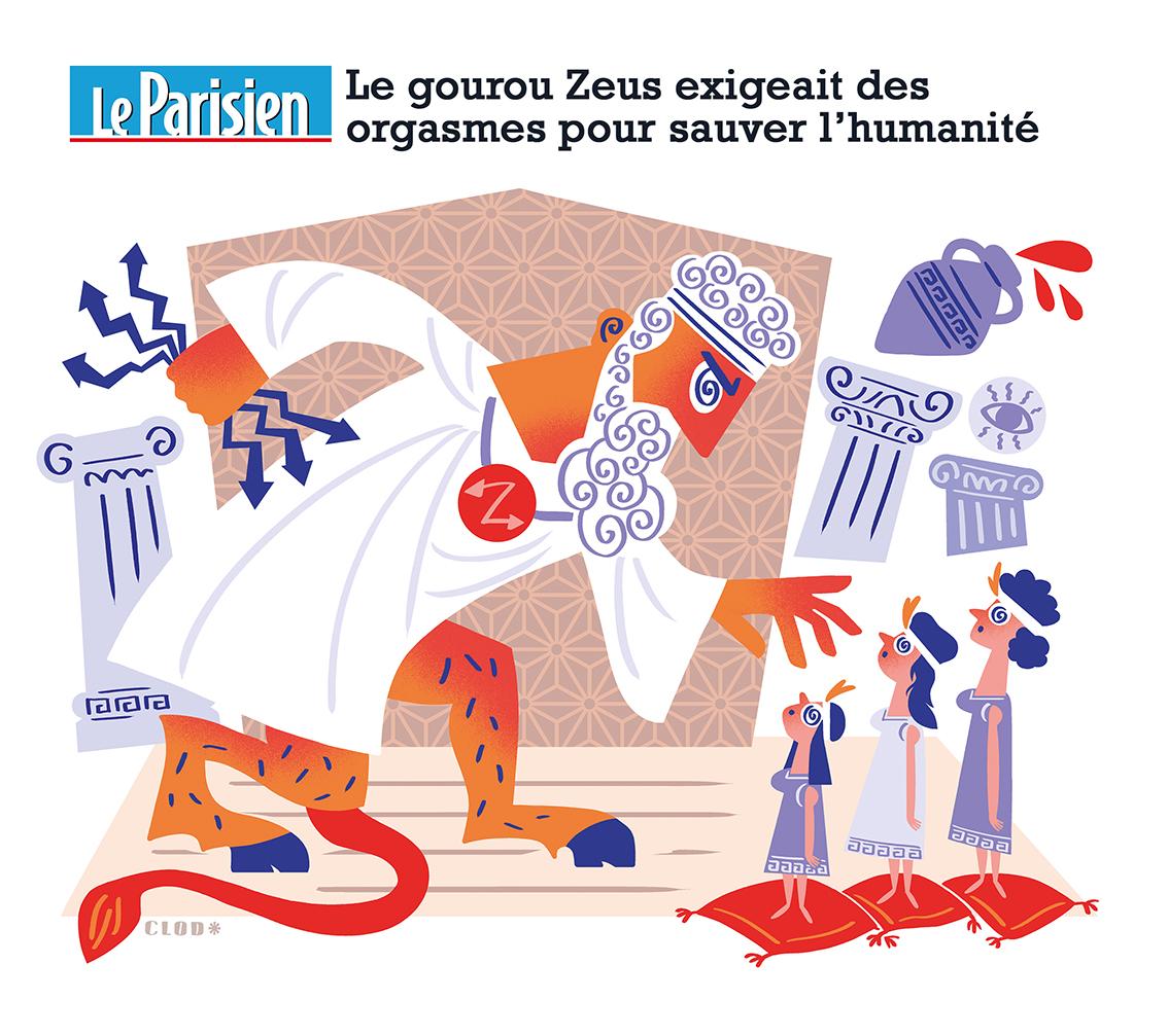 Clod illustration Le Parisien fait-divers Le gourou Zeus