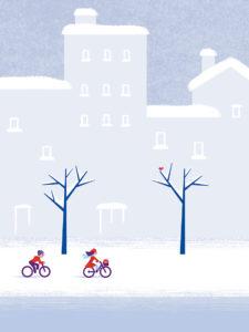 Clod illustration Vélo dans la neige