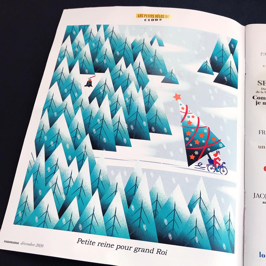 Les Petits vélos de Clod, illustration pour le magazine Panorama