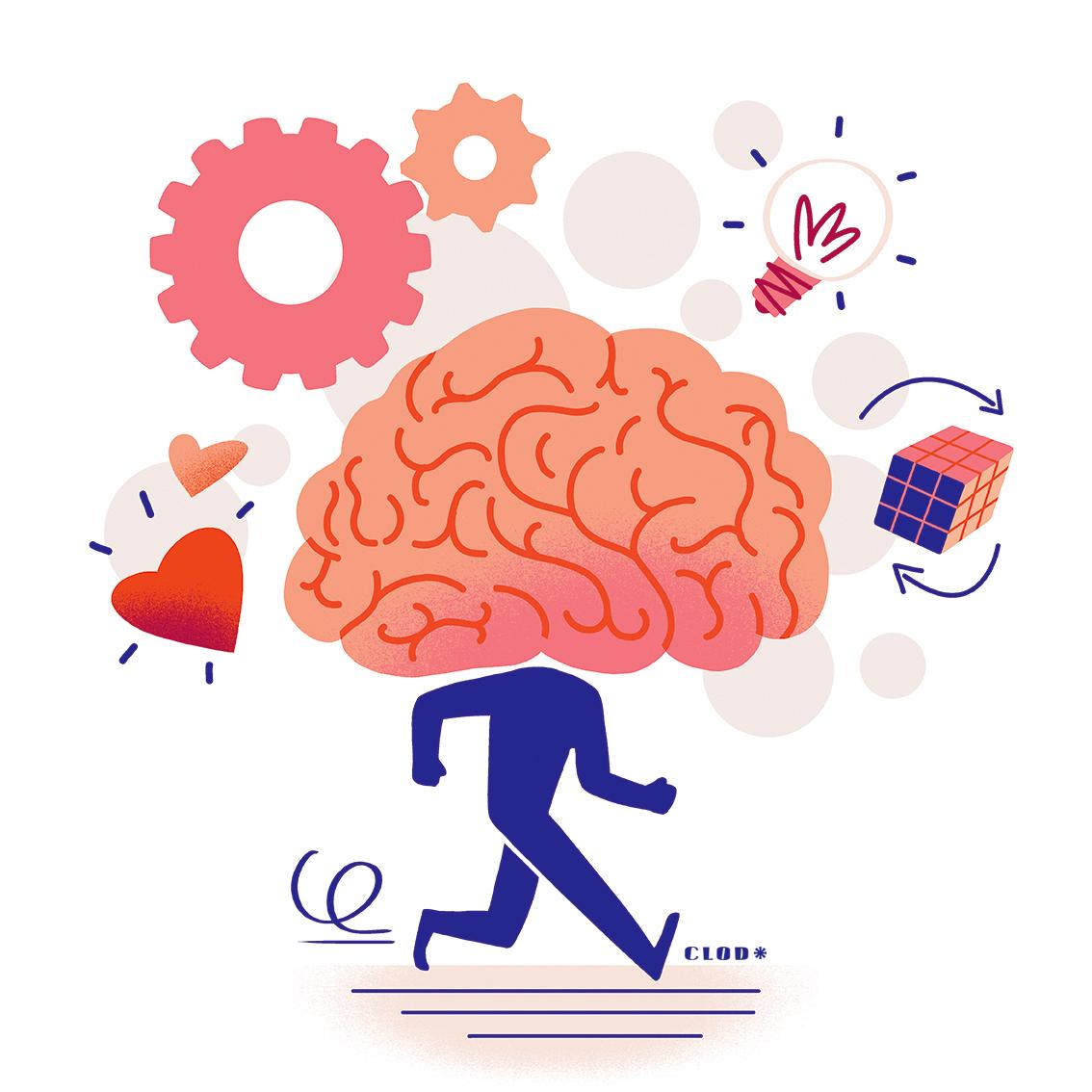Illustrations pour un guide mutuelle sur le cerveau