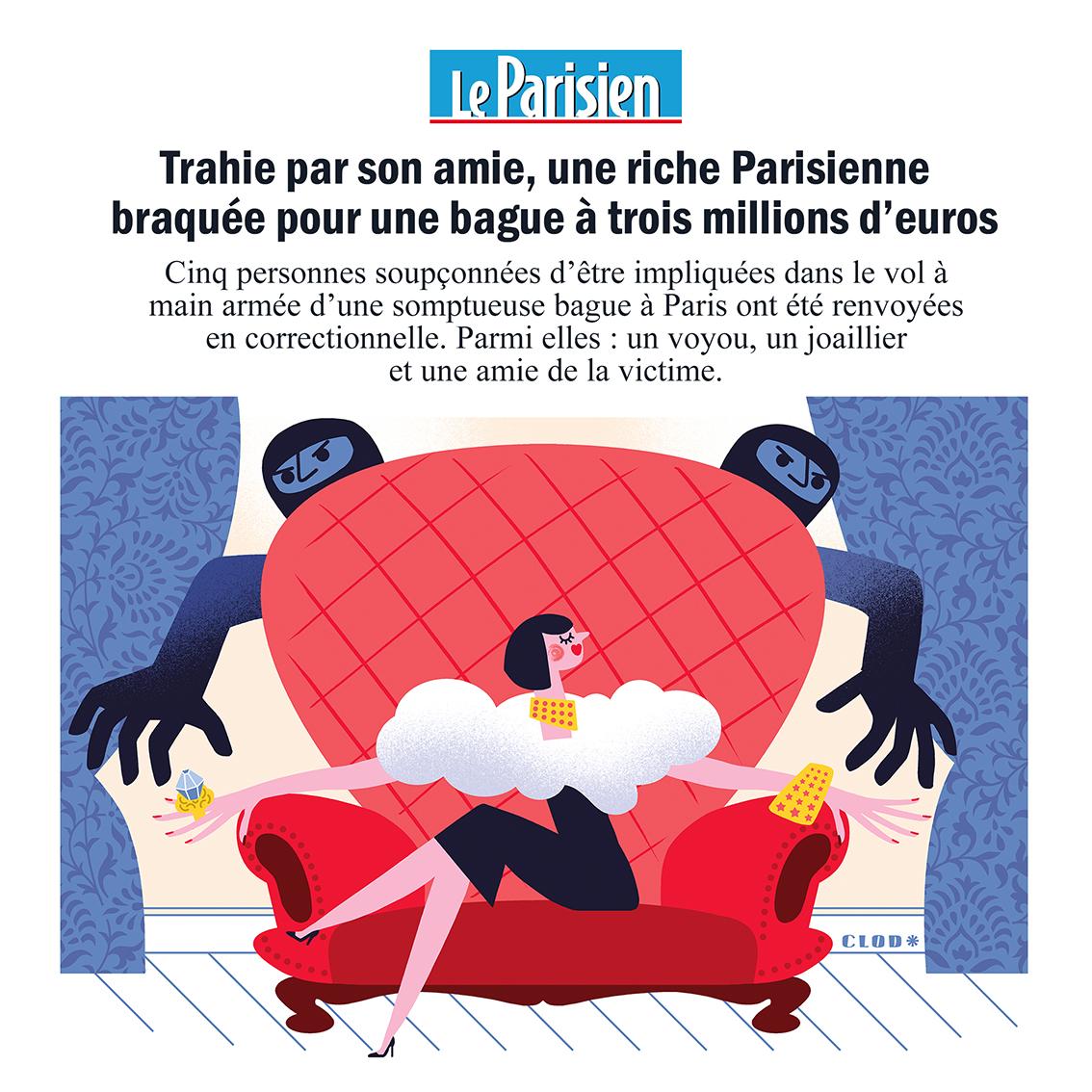 Clod illustration Le Parisien article Diamant, braquage et trahison