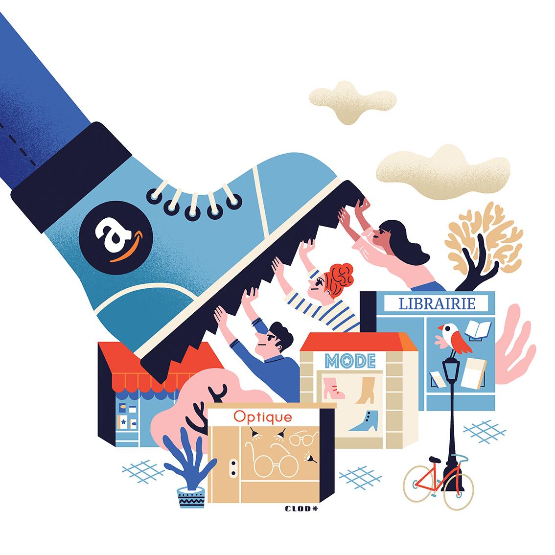 Clod illustration pour 60 Millions de Consommateurs, les petits commerces face aux géants de l'internet