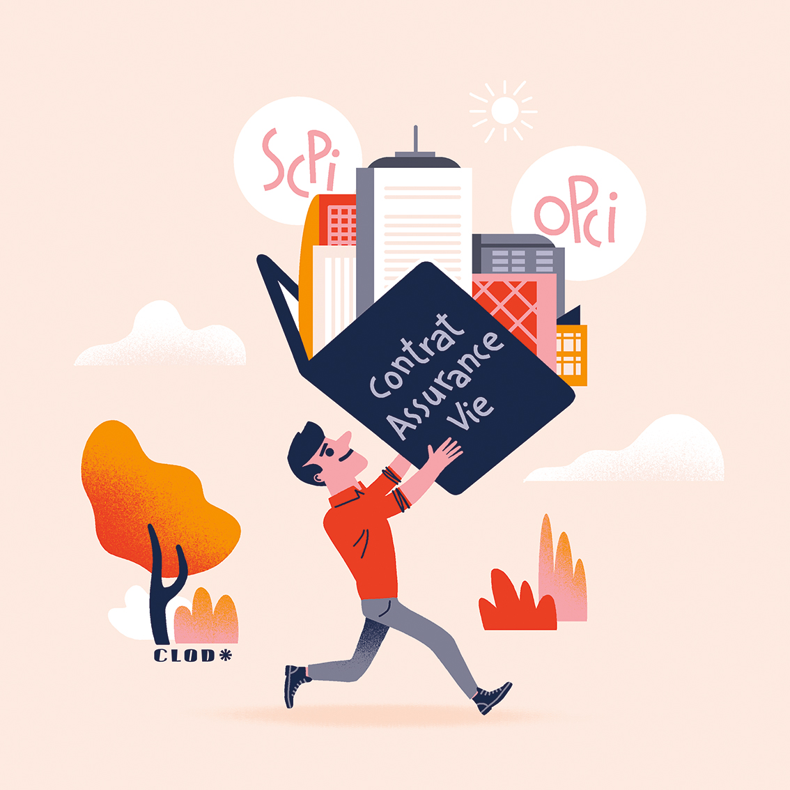 Clod illustration pour la lettre mailing du Crédit Agricole Assurance