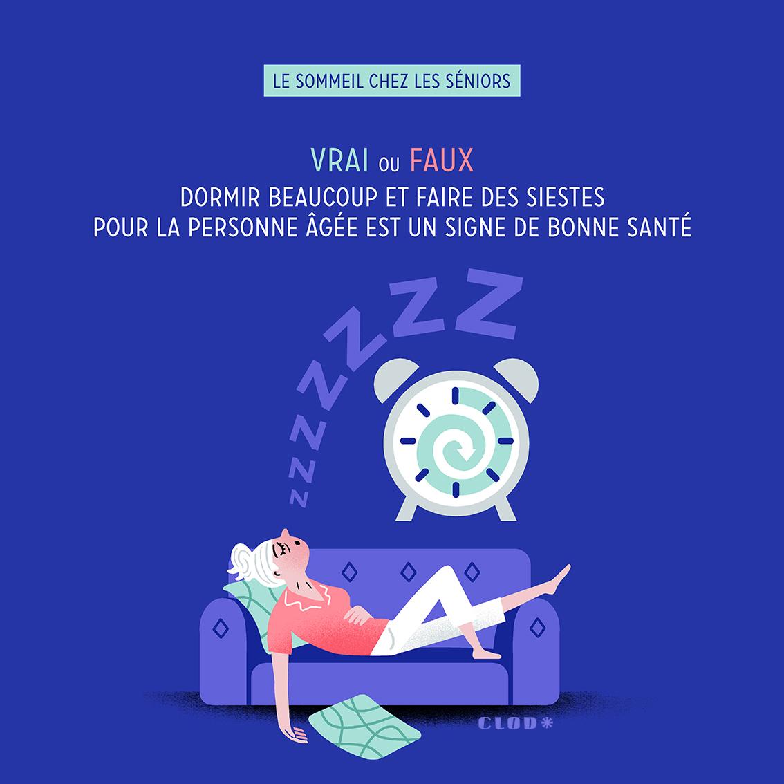 Clod illustration Mutuelle, quiz santé sommeil chez les séniors