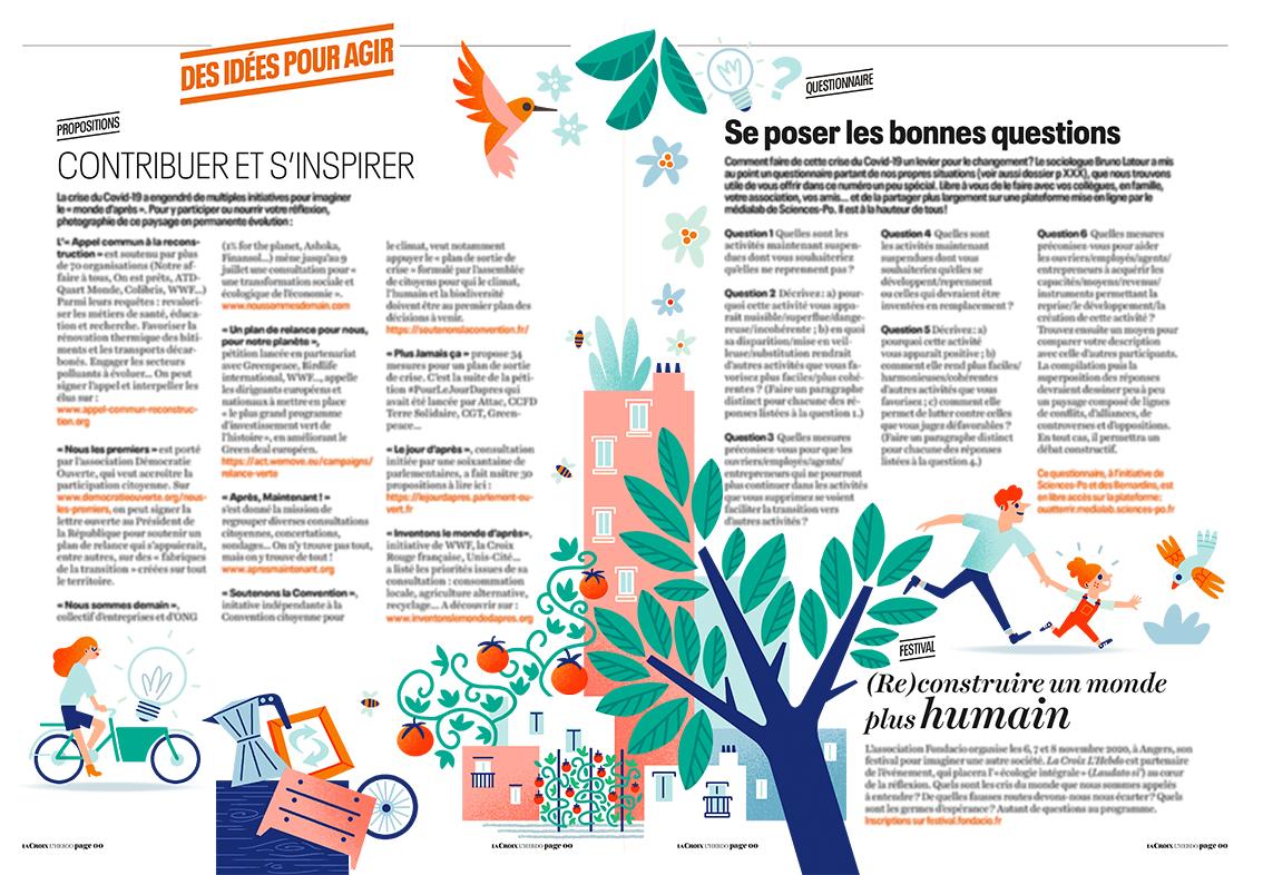 """Illustration """"des idées pour agir"""" pour le magazine La Croix l'Hebdo"""