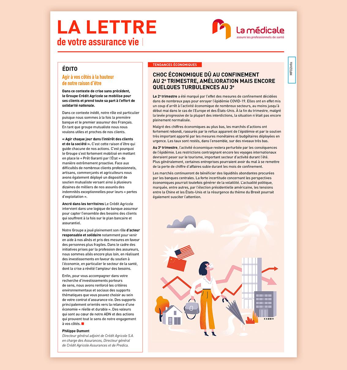 Clod illustration pour la lettre La Médicale, assurance pour les professionnels de santé (groupe Crédit Agricole)