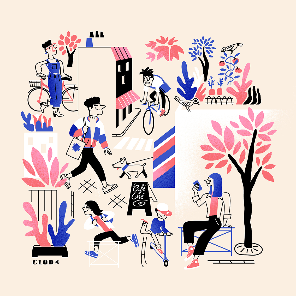 La vie de quartier, Clod illustration