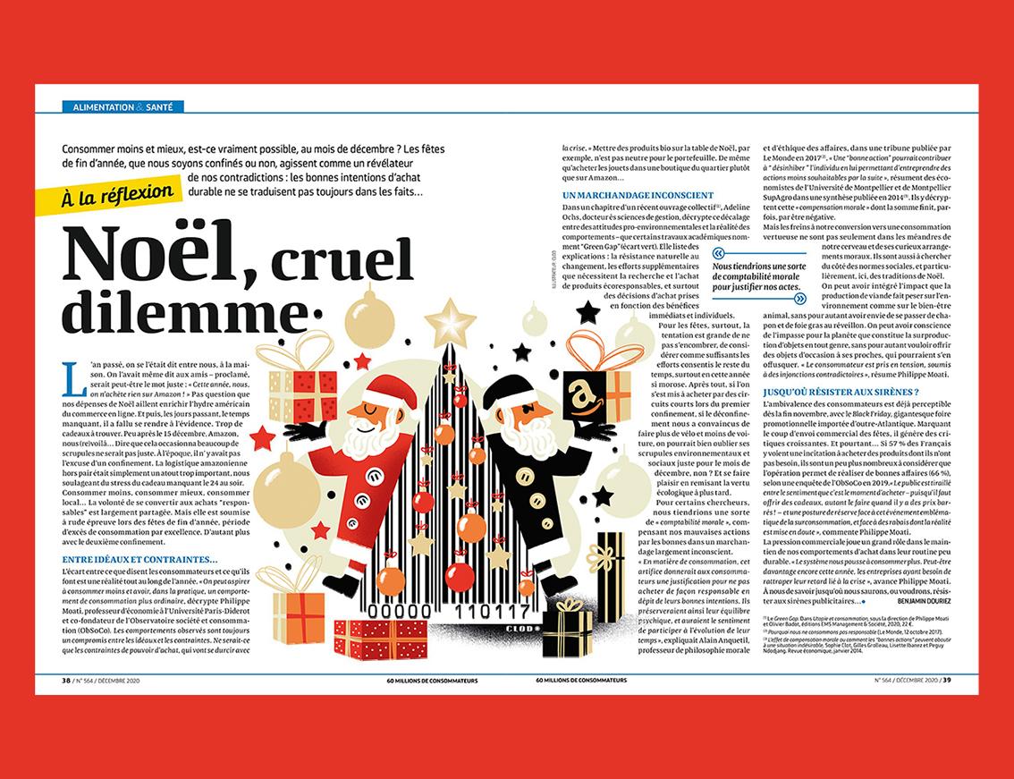 clod illustration pour le magazine 60 Millions de consommateurs, rubrique A la réflexion