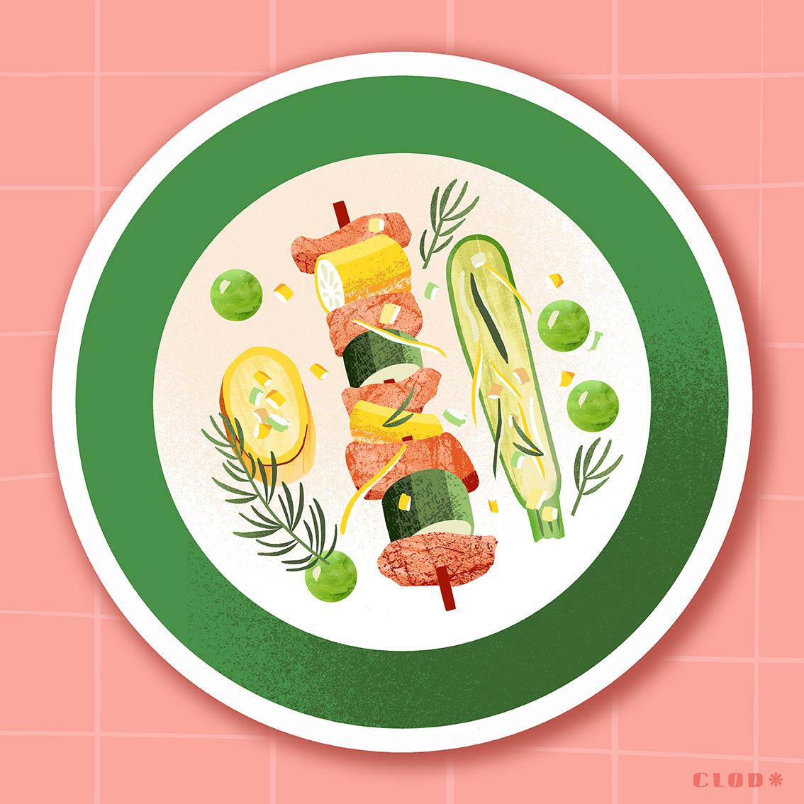 Clod illustration cuisiner des légumes