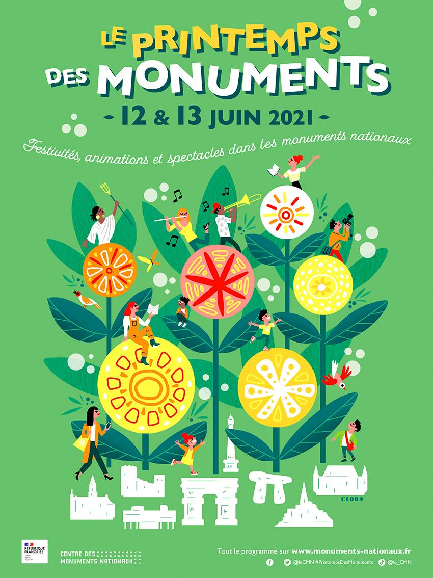 Clod illustration affiche le Printemps des Monuments pour le Centre des Monuments Nationaux