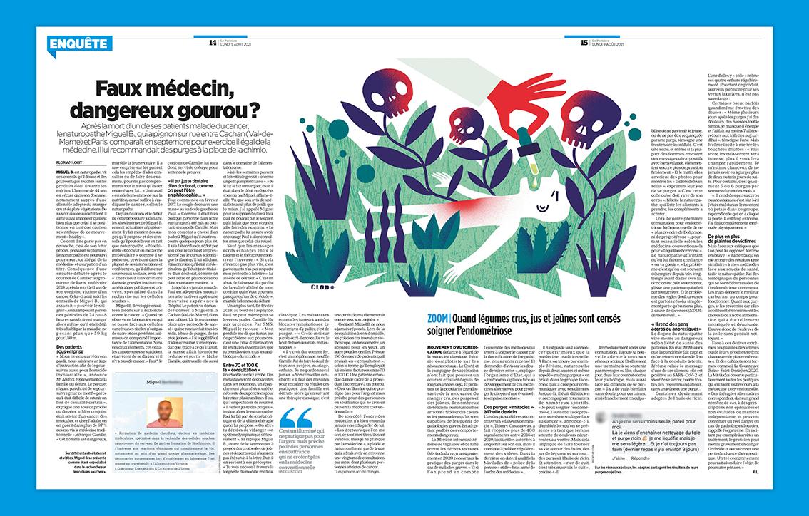 Clod illustration Le Parisien du 9 août 2021 faux médecin, dangereux gourou ?